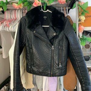 Top shop black leather jacket with faux fur